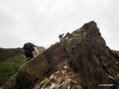 106/05/12 劍龍稜、鋸齒稜、555峰下俯瞰稜出山腰水管路:DSCN4406.JPG