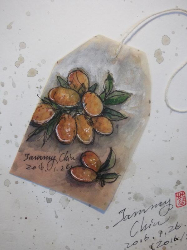 茶包畫 / 用過的茶包畫小插圖:2016 / 020  淡彩茶包畫: 金桔