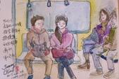 2015年〈1月至2月〉生活速寫 / 手繪日記:2015/097  淡彩速寫:往北投捷運上的乘客
