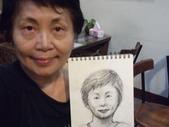 2015年11月 / 生活速寫。手繪日記:2015 / 508〈048〉 紙捲蠟筆:人物速寫  對鏡自畫像