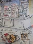 2015年12月 / 生活速寫。手繪日記:2015 / 531淡彩速寫:OK超商櫃台一角與我的餐點