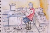 2015年1至5月人物素描 / 速寫:2015/ 215 淡彩速寫:在廚房玩手機的兒子