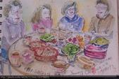 2015年〈1月至2月〉生活速寫 / 手繪日記:2015/088 淡彩速寫:除夕年夜飯,在小弟 / 建宇家喝茶聊天