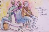 2015年〈3月至4月〉生活速寫 / 手繪日記:2015/192   淡彩速寫:火車上的乘客 2