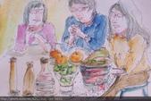 2015年〈1月至2月〉生活速寫 / 手繪日記:2015/089 淡彩速寫:除夕年夜飯,在小弟 / 建宇家喝茶聊天
