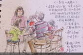 2015年〈1月至2月〉生活速寫 / 手繪日記:2015/040 淡彩速寫:ㄧ家5口山東人〈小館食客〉