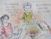 2015和2016年在畫室 與咖啡館或戶外寫生教學:2015/301 淡彩速寫:在水涴豆花屋教學 / 畫中畫2位學生