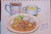 2014年我的生活速寫 / 圖畫日記:彩筆下的套餐2〈南洋咖哩牛肉飯〉