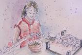 2015年1至5月人物素描 / 速寫:2015/ 240 淡彩速寫:日照小館包餃子的幫手