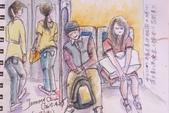 2015年〈3月至4月〉生活速寫 / 手繪日記:2015/191   淡彩速寫:火車上的乘客 1
