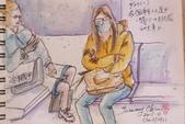 2015年〈3月至4月〉生活速寫 / 手繪日記:2015/193   淡彩速寫:火車上的乘客 3