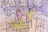 2015年1至5月人物素描 / 速寫:2015/ 224 淡彩速寫:〈綠的經典咖啡館〉內別桌客人