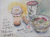 2015和2016年在畫室 與咖啡館或戶外寫生教學:2015.06.14 在經國摩斯速寫 / 食物教學   卡達水蠟筆
