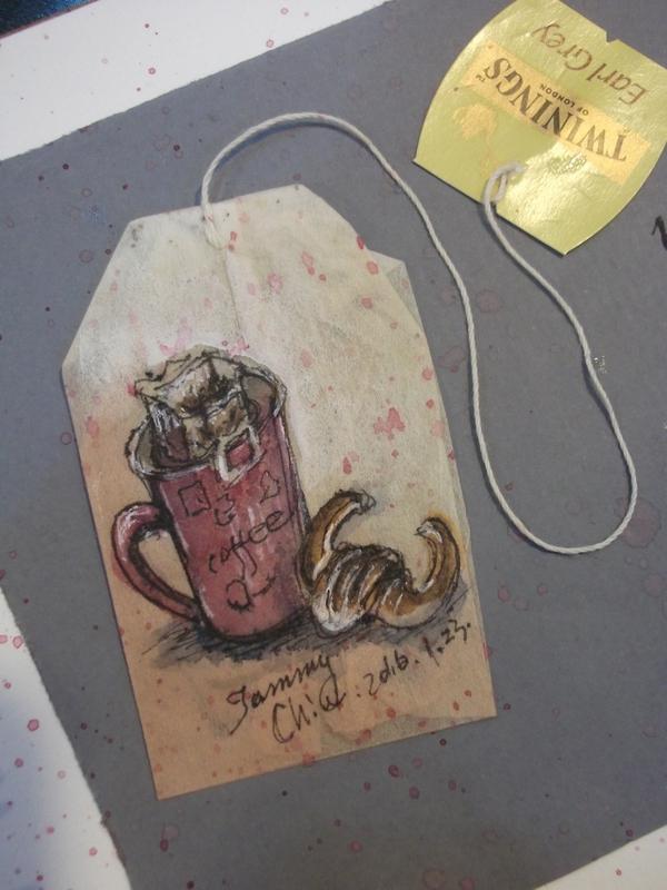 茶包畫 / 用過的茶包畫小插圖:2016 / 016  淡彩茶包畫: 下午茶 咖啡配金牛角