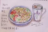 2014年我的生活速寫 / 圖畫日記:淡彩速寫 / 生菜肉醬拌麵和檸檬水