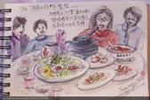 2014年我的生活速寫 / 圖畫日記:12/28大妹 / 郁如請弟妹家人聚餐【張家土雞城在桃園】