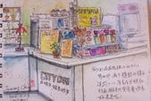 2015年〈1月至2月〉生活速寫 / 手繪日記:2015/103 淡彩速寫:小七家櫃檯商品和咖啡機