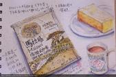 2015年〈1月至2月〉生活速寫 / 手繪日記:2015/096  淡彩速寫:在家喝下午茶 / 濾泡咖啡加乳酪蛋糕