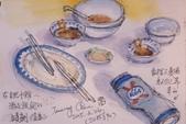 2015年〈3月至4月〉生活速寫 / 手繪日記:2015/190  淡彩速寫:桌面上酒足飯飽的時刻《食客》