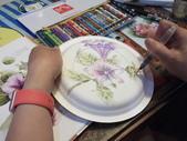 2015和2016年在畫室 與咖啡館或戶外寫生教學:【學生/ 秋燕的作品:紙盤掛畫】