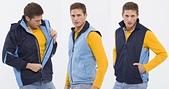 外套現貨(未分類):886 防潑水透濕透氣兩件式(可拆帽)外套(丈青配水藍)