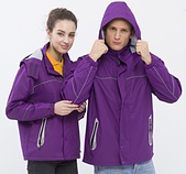 外套現貨(未分類):883 防潑水反光條刷毛(帽)外套(中紫色)