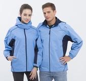 外套現貨(未分類):786 防潑水透濕透氣(可拆帽)薄外套(水藍配丈青)