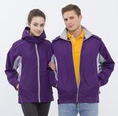 外套現貨(未分類):786 防潑水透濕透氣(可拆帽)薄外套(深紫配淺灰)